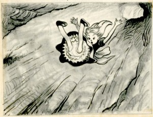 david hall alice falls down the rabbit hole drawing detail blog